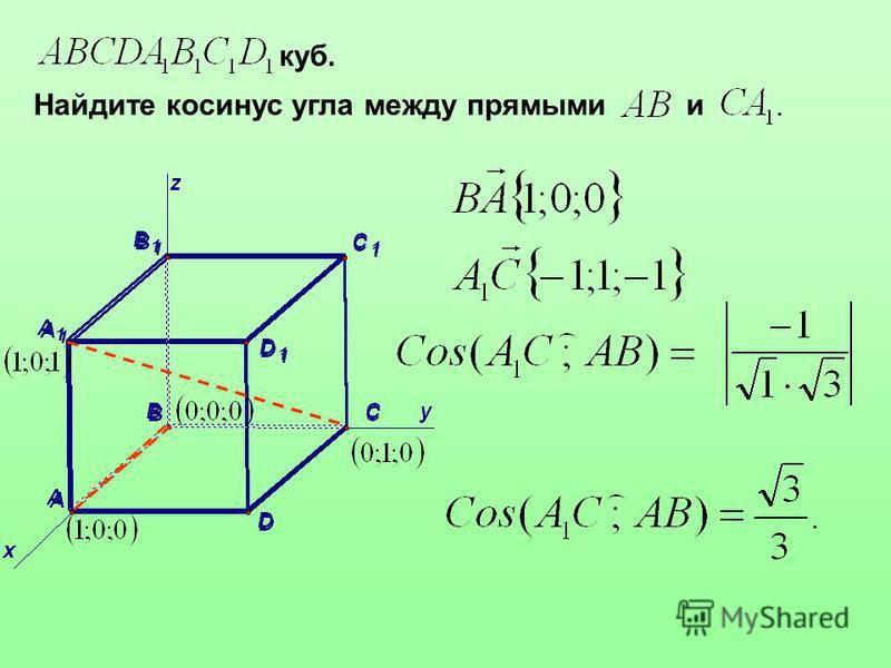 куб. Найдите косинус угла между прямыми