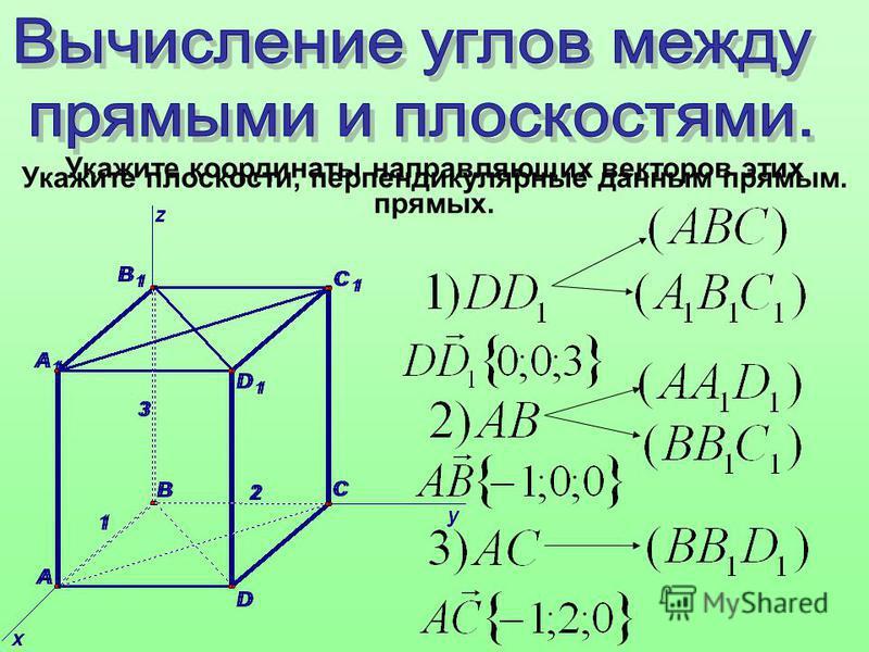 Укажите плоскости, перпендикулярные данным прямым. Укажите координаты направляющих векторов этих прямых.