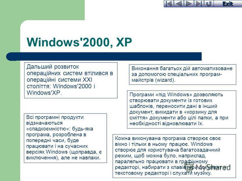Exit Windows'2000, XP Дальший розвиток операційних систем втілився в операційні системи XXI століття: Windows'2000 і Windows'XP. Виконання багатьох дій автоматизоване за допомогою спеціальних програм- майстрів (wizard). Всі програмні продукти відзнач