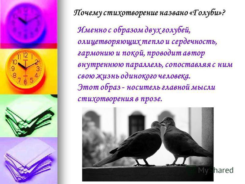 Почему стихотворение названо «Голуби»? Именно с образом двух голубей, олицетворяющих тепло и сердечность, гармонию и покой, проводит автор внутреннюю параллель, сопоставляя с ним свою жизнь одинокого человека. Этот образ - носитель главной мысли стих
