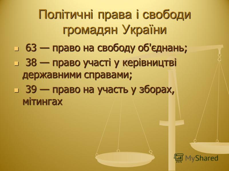 Політичні права і свободи громадян України 63 право на свободу об'єднань; 63 право на свободу об'єднань; 38 право участі у керівництві державними справами; 38 право участі у керівництві державними справами; 39 право на участь у зборах, мітингах 39 пр