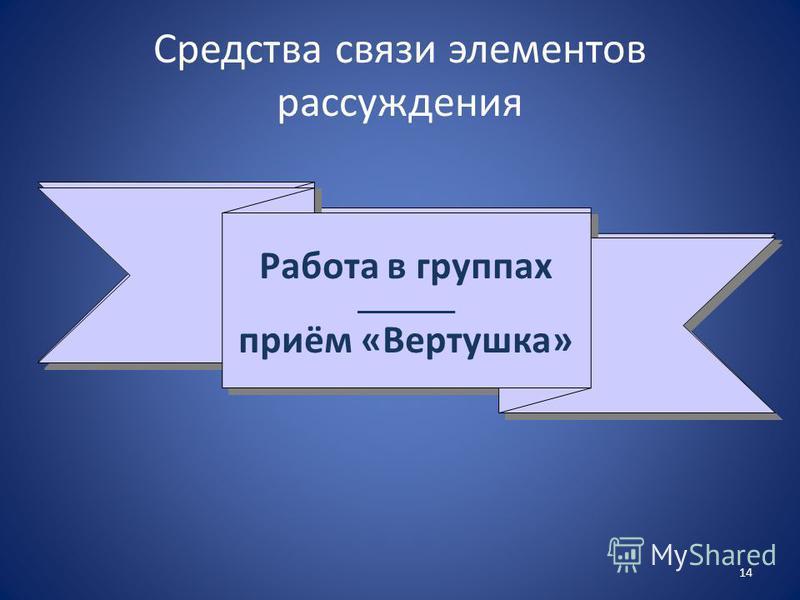 Средства связи элементов рассуждения Работа в группах _________ прием «Вертушка» Работа в группах _________ прием «Вертушка» 14 Работа в группах _________ приём «Вертушка» Работа в группах _________ приём «Вертушка»