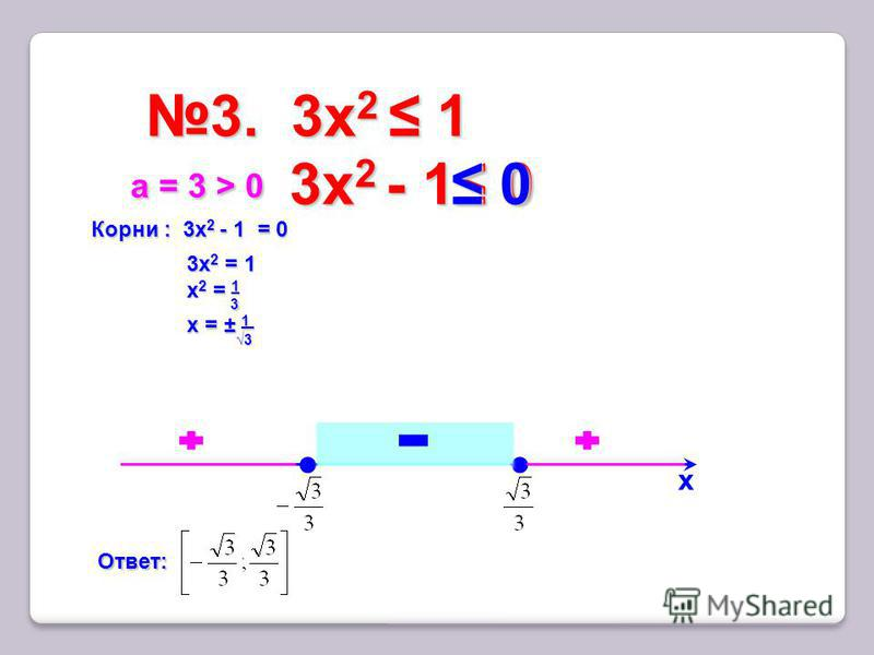 3. 3x 2 13. 3x 2 1 х Корни : 3x 2 - 1 = 0 3 х 2 = 1 х 2 = 1 х = ± 1 а = 3 > 0 а = 3 > 0 Ответ: 3x 2 - 1 0 3x 2 - 1 0 0 0 3 3 3