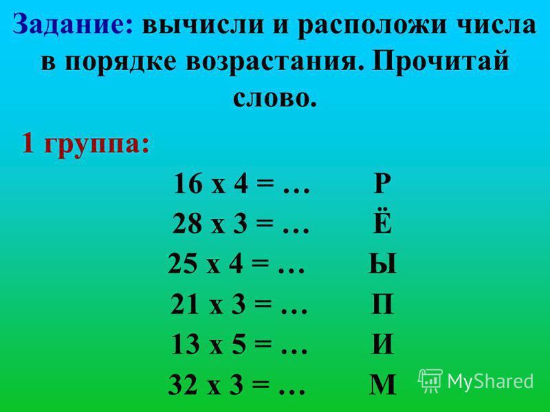 Задание: вычисли и расположи числа в порядке возрастания. Прочитай слово. 1 группа: 16 х 4 = … Р 28 х 3 = … Ё 25 х 4 = … Ы 21 х 3 = … П 13 х 5 = … И 32 х 3 = … М