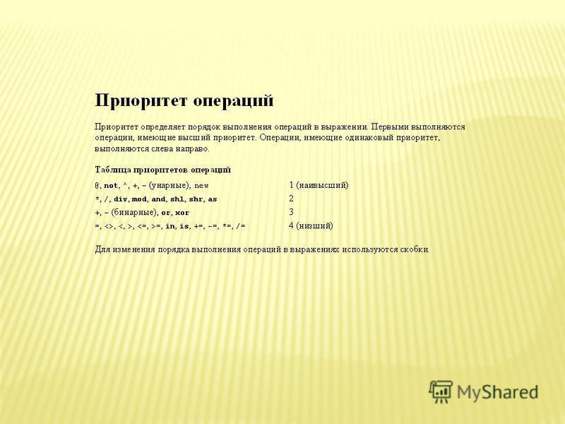 Операция явного приведения типов Операция явного приведения типов имеет вид Имя Типа(выражение) и позволяет преобразовать выражение к типу Имя Типа. Тип выражения и тип с именем Имя Типа должны оба принадлежать либо к порядковому типу, либо к типу ук