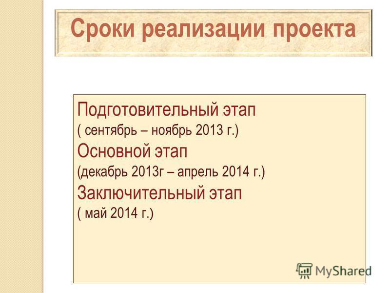 Сроки реализации проекта Подготовительный этап ( сентябрь – ноябрь 2013 г.) Основной этап (декабрь 2013 г – апрель 2014 г.) Заключительный этап ( май 2014 г. )
