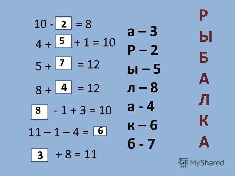 10 -= 8 4 + + 1 = 10 5 + = 12 8 + = 12 - 1 + 3 = 10 11 – 1 – 4 = + 8 = 11 а – 3 Р – 2 ы – 5 л – 8 а - 4 к – 6 б - 7 2 4 5 7 8 6 3 РЫБАЛКА РЫБАЛКА