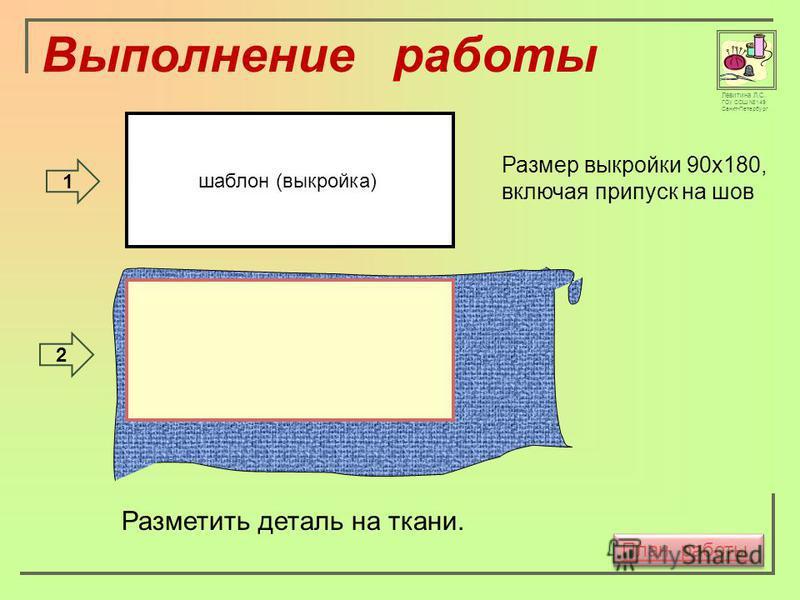 Левитина Л.С. ГОУ СОШ 149 Санкт-Петербург шаблон (выкройка) Размер выкройки 90 х 180, включая припуск на шов Разметить деталь на ткани. 1 2 План работы Выполнение работы
