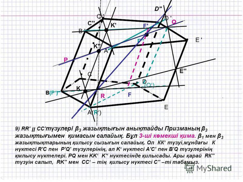 A(R) C ' R P Q B ' B(P) E D C D ' E ' A'A' (Q) F F'F' F'' D'' A(R) C ' R P Q B ' B(P) E D C D ' E ' A'A' (Q) F F'F' F'' D'' E'' 9) RR' װ CC' түзулері β 3 жазықтығын анықтайды Призманың β 3 жазықтығымен қимасын салайық. Бұл 3-ші көмекші қима. β 1 мен