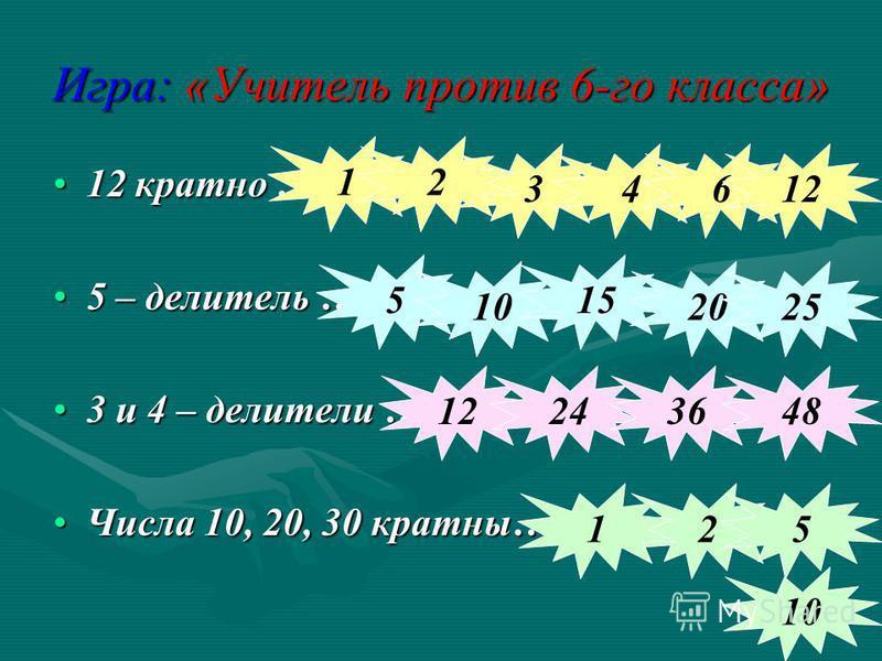 Игра: «Учитель против 6-го класса» 12 кратно …12 кратно … 5 – делитель …5 – делитель … 3 и 4 – делители …3 и 4 – делители … Числа 10, 20, 30 кратны…Числа 10, 20, 30 кратны… 34 1 612 2 5 10 15 2025 12243648 25 10 1