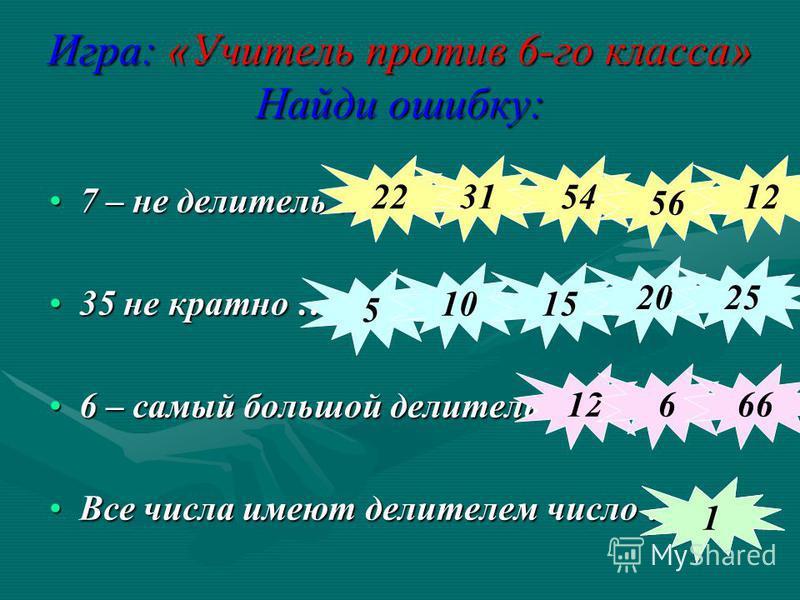 Игра: «Учитель против 6-го класса» Найди ошибку: 7 – не делитель …7 – не делитель … 35 не кратно …35 не кратно … 6 – самый большой делитель …6 – самый большой делитель … Все числа имеют делителем число …Все числа имеют делителем число … 3154 56 1222