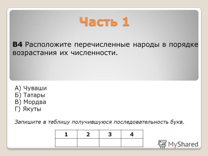 Часть 1 А) Чуваши Б) Татары В) Мордва Г) Якуты Запишите в таблицу получившуюся последовательность букв. В4 Расположите перечисленные народы в порядке возрастания их численности. 1234