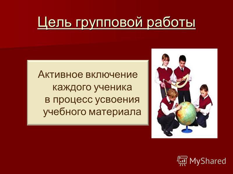Цель групповой работы Активное включение каждого ученика в процесс усвоения учебного материала