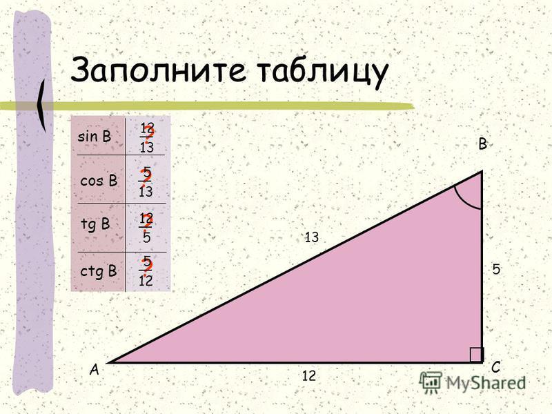 Заполните таблицу 12 5 13 А В С ? ? ? ? sin B cos B tg B ctg B 5 13 12 13 12 5 5