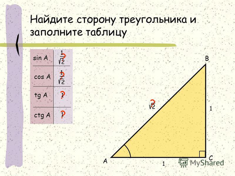 Найдите сторону треугольника и заполните таблицу 1 А В С ? ? ? ? sin А cos А tg А ctg А ? 2 1 2 1 1 2 1 1