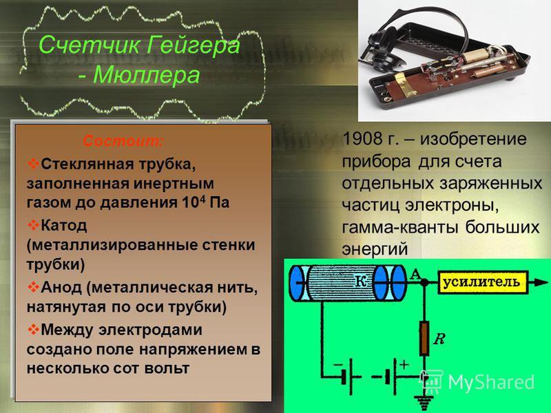 Счетчик Гейгера - Мюллера 1908 г. – изобретение прибора для счета отдельных заряженных частиц электроны, гамма-кванты больших энергий Состоит: Стеклянная трубка, заполненная инертным газом до давления 10 4 Па Катод (металлизированные стенки трубки) А