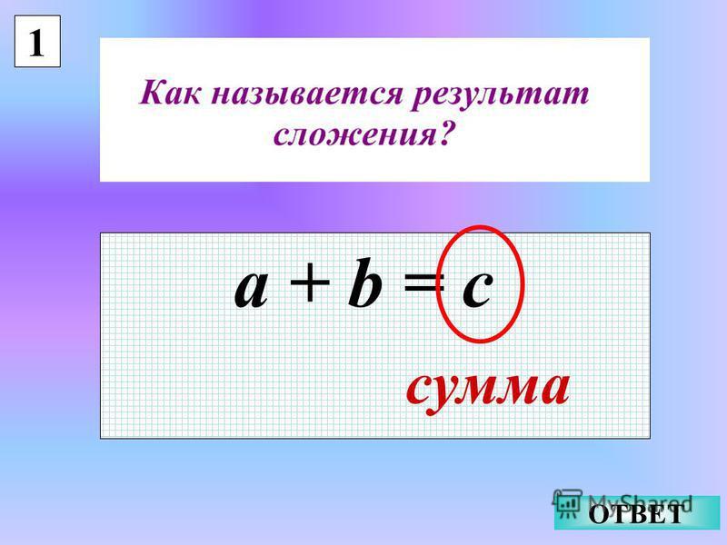 1 a + b = c сумма ОТВЕТ
