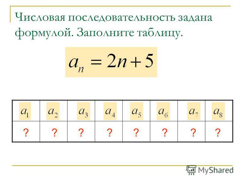 Числовая последовательность задана формулой. Заполните таблицу. 79111315171921 ????????