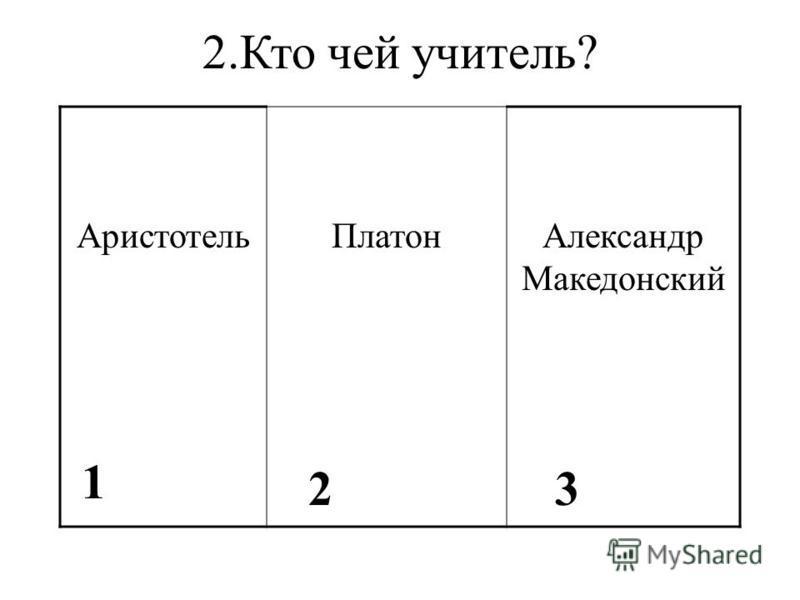 2. Кто чей учитель? Аристотель ПлатонАлександр Македонский 1 23