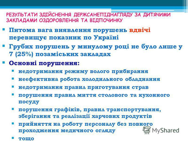 РЕЗУЛЬТАТИ ЗДІЙСНЕННЯ ДЕРЖСАНЕПІДНАГЛЯДУ ЗА ДИТЯЧИМИ ЗАКЛАДАМИ ОЗДОРОВЛЕННЯ ТА ВІДПОЧИНКУ Питома вага виявлення порушень вдвічі перевищує показник по Україні Грубих порушень у минулому році не було лише у 7 (25%) позаміських закладах Основні порушенн