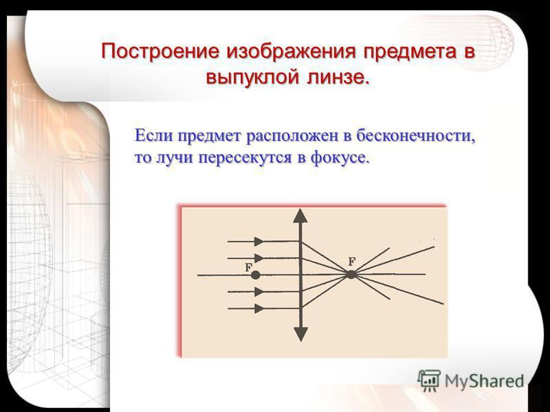 Если предмет расположен в бесконечности, то лучи пересекутся в фокусе. Построение изображения предмета в выпуклой линзе.