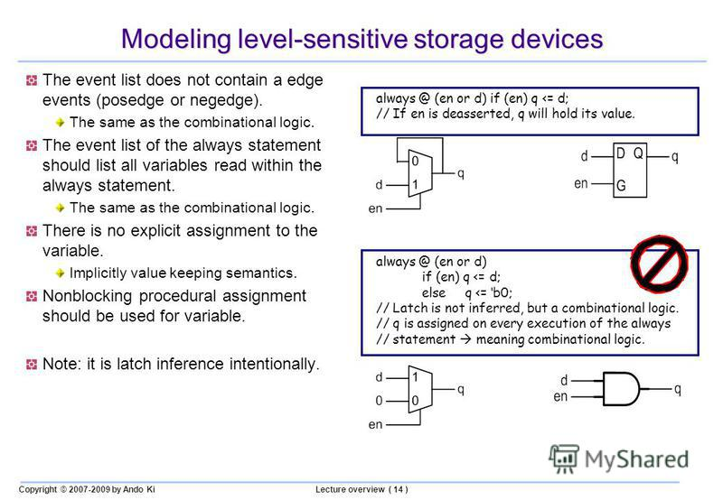 Copyright © 2007-2009 by Ando KiLecture overview ( 14 ) Modeling level-sensitive storage devices The event list does not contain a edge events (posedge or negedge). The same as the combinational logic. The event list of the always statement should li