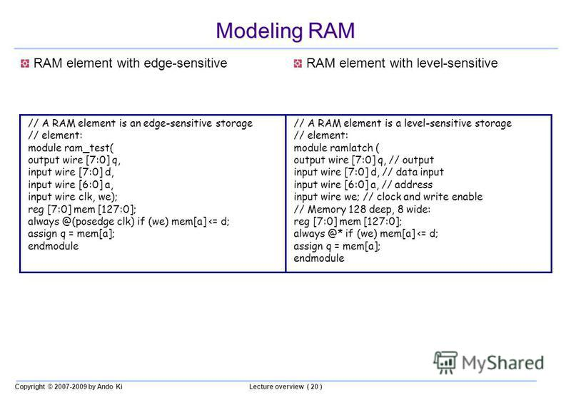 Copyright © 2007-2009 by Ando KiLecture overview ( 20 ) Modeling RAM // A RAM element is an edge-sensitive storage // element: module ram_test( output wire [7:0] q, input wire [7:0] d, input wire [6:0] a, input wire clk, we); reg [7:0] mem [127:0]; a
