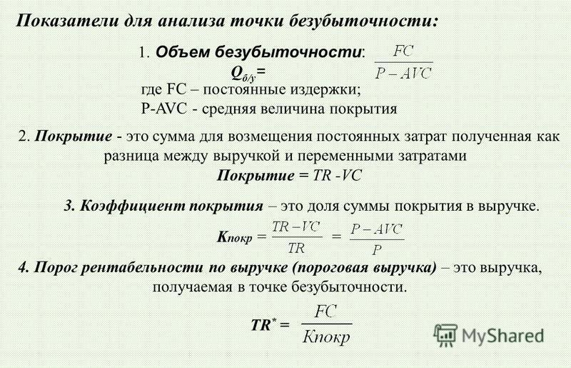1. Объем безубыточности: Q б/у = где FC – постоянные издержки; P-AVC - средняя величина покерытия Показатели для анализа точки безубыточности: 2. Покрытие - это сумма для возмещения постоянных затрат полученная как разница между выручкой и переменным