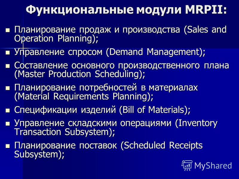Функциональные модули MRPII: Планирование продаж и производства (Sales and Operation Planning); Планирование продаж и производства (Sales and Operation Planning); Управление спросом (Demand Management); Управление спросом (Demand Management); Составл