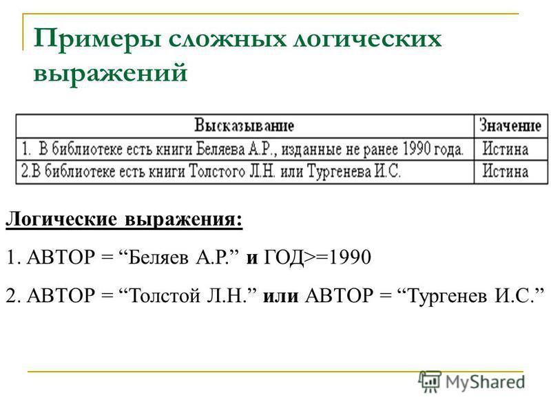 Примеры сложных логических выражений Логические выражения: 1. АВТОР = Беляев А.Р. и ГОД>=1990 2. АВТОР = Толстой Л.Н. или АВТОР = Тургенев И.С.