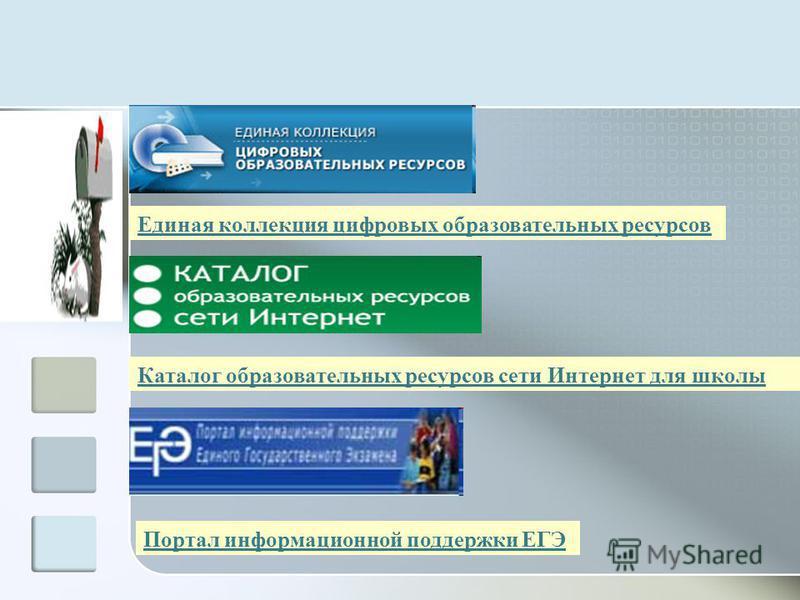 Единая коллекция цифровых образовательных ресурсов Каталог образовательных ресурсов сети Интернет для школы Портал информационной поддержки ЕГЭ