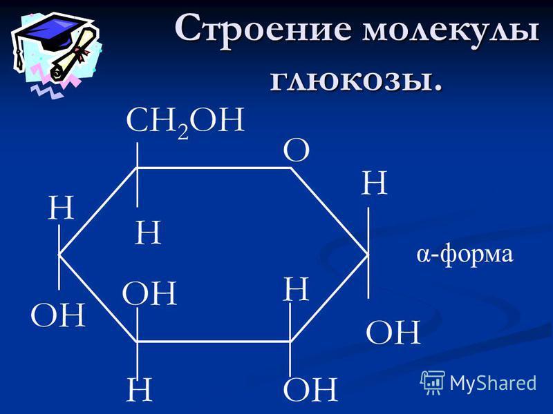 Строение молекулы глюкозы. СН 2 ОН Н ОН О Н Н Н Н α-форма