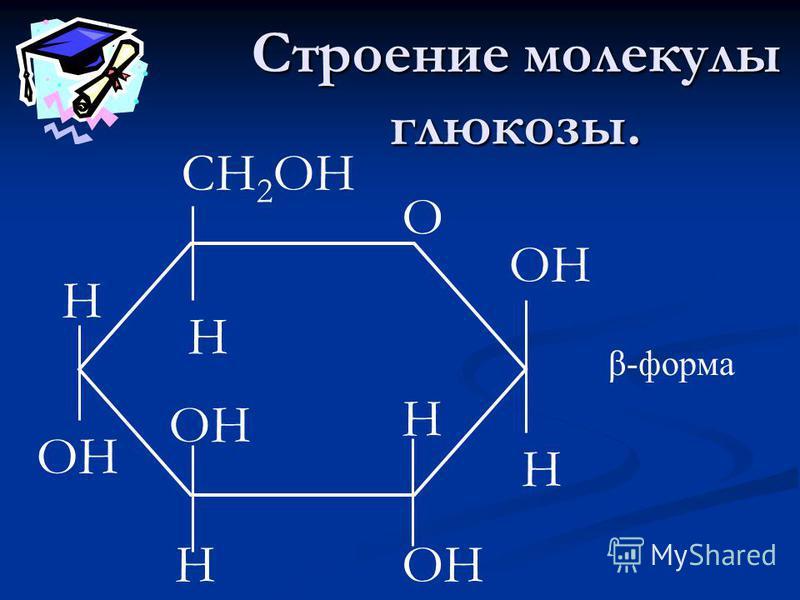 Строение молекулы глюкозы. СН 2 ОН Н ОН О Н Н Н Н β-форма