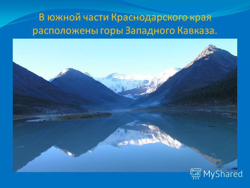 В южной части Краснодарского края расположены горы Западного Кавказа.