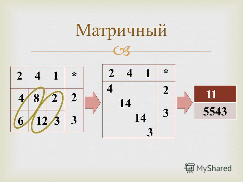 Матричный 2 4 1* 2323 * 2323 11 5543 4 8 2 6 12 3 4 14 3