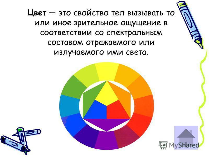 Цвет это свойство тел вызывать то или иное зрительное ощущение в соответствии со спектральным составом отражаемого или излучаемого ими света.