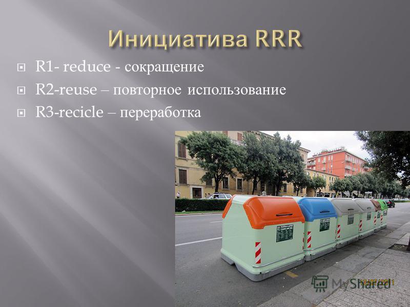 R1- reduce - сокращение R2-reuse – повторное использование R3-recicle – переработка