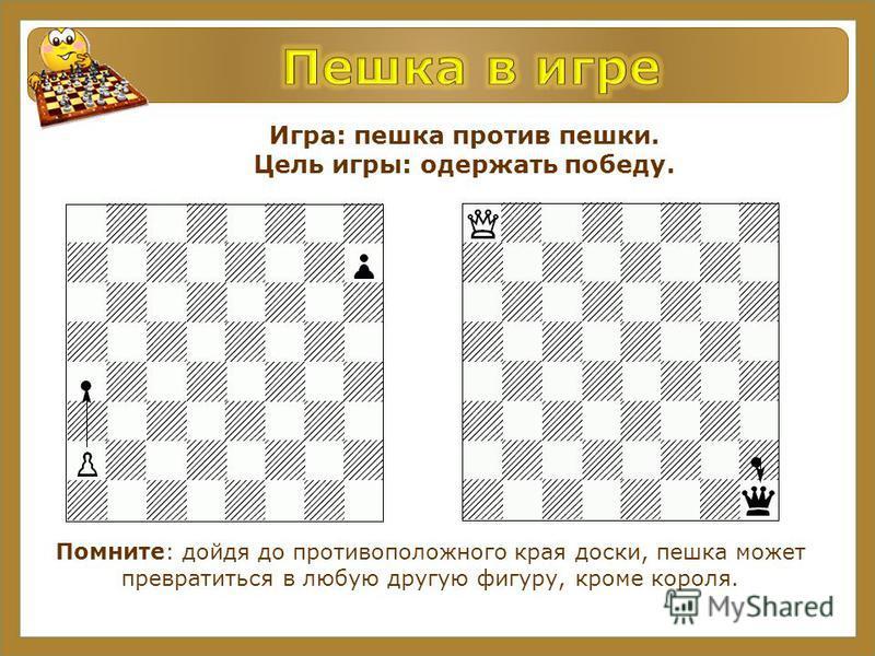 Игра: пешка против пешки. Цель игры: одержать победу. Помните: дойдя до противоположного края доски, пешка может превратиться в любую другую фигуру, кроме короля.