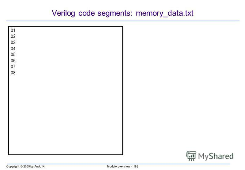 Copyright © 2009 by Ando KiModule overview ( 19 ) Verilog code segments: memory_data.txt 01 02 03 04 05 06 07 08