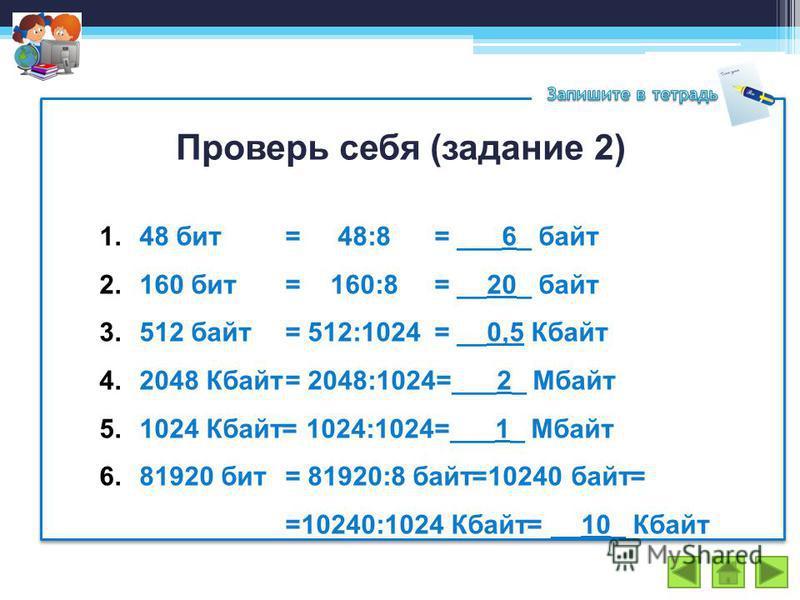 Проверь себя (задание 2) 1.48 бит = 48:8 = ___6_ байт 2.160 бит= 160:8= __20_ байт 3.512 байт = 512:1024= __0,5 Кбайт 4.2048 Кбайт= 2048:1024=___2_ Мбайт 5.1024 Кбайт= 1024:1024=___1_ Мбайт 6.81920 бит= 81920:8 байт=10240 байт= =10240:1024 Кбайт= __1
