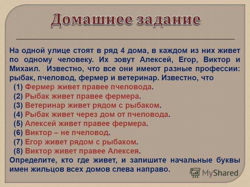 На одной улице стоят в ряд 4 дома, в каждом из них живет по одному человеку. Их зовут Алексей, Егор, Виктор и Михаил. Известно, что все они имеют разные профессии: рыбак, пчеловод, фермер и ветеринар. Известно, что (1) Фермер живет правее пчеловода.