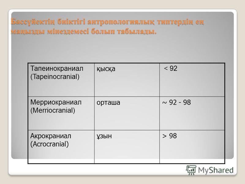 Бассүйектің биіктігі антропологиялық типтердің ең маңызды мінездемсі болып табылады. Тапеинокраниал (Tapeinocranial) қысқа < 92 Мерриокраниал (Merriocranial) орташа~ 92 - 98 Акрокраниал (Аcrocranial) ұзын> 98