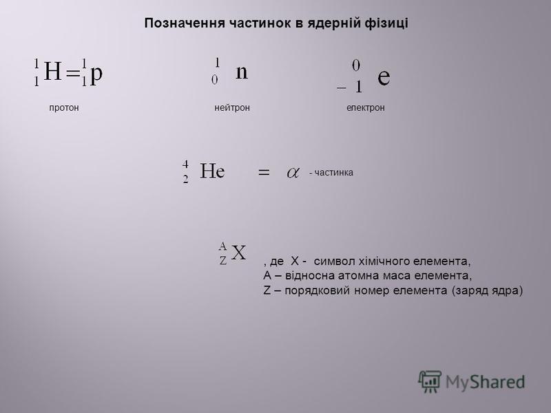 Позначення частинок в ядерній фізиці протоннейтронелектрон, де Х - символ хімічного елемента, А – відносна атомна маса елемента, Z – порядковий номер елемента (заряд ядра) - частинка
