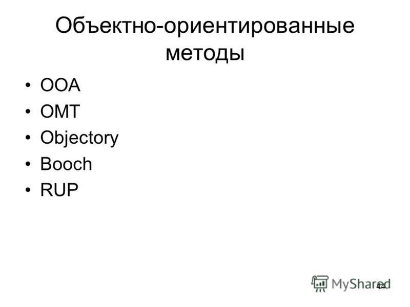44 Объектно-ориентированные методы ООА ОМТ Objectory Booch RUP