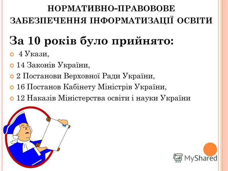 НОРМАТИВНО ПРАВОВОВЕ ЗАБЕЗПЕЧЕННЯ ІНФОРМАТИЗАЦІЇ ОСВІТИ За 10 років було прийнято: 4 Укази, 14 Законів України, 2 Постанови Верховної Ради України, 16 Постанов Кабінету Міністрів України, 12 Наказів Міністерства освіти і науки України