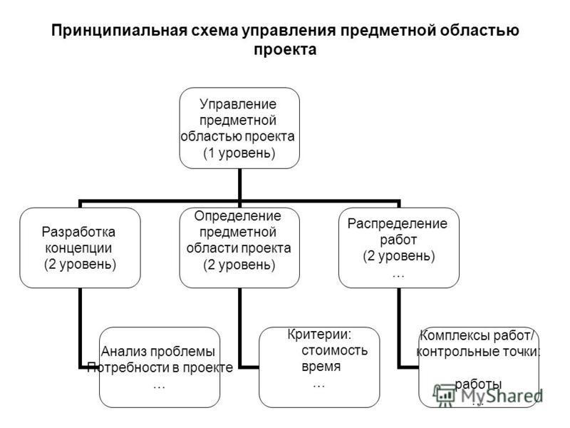Принципиальная схема управления предметной областью проекта Управление предметной областью проекта (1 уровень) Разработка концепции (2 уровень) Анализ проблемы Потребности в проекте … Определение предметной области проекта (2 уровень) Критерии: стоим