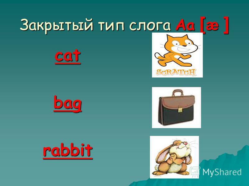 Закрытый тип слога Aa [ æ ] catbagrabbit