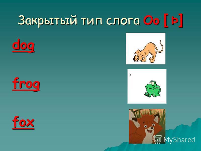 Закрытый тип слога Oo [ Þ ] dogfrogfox