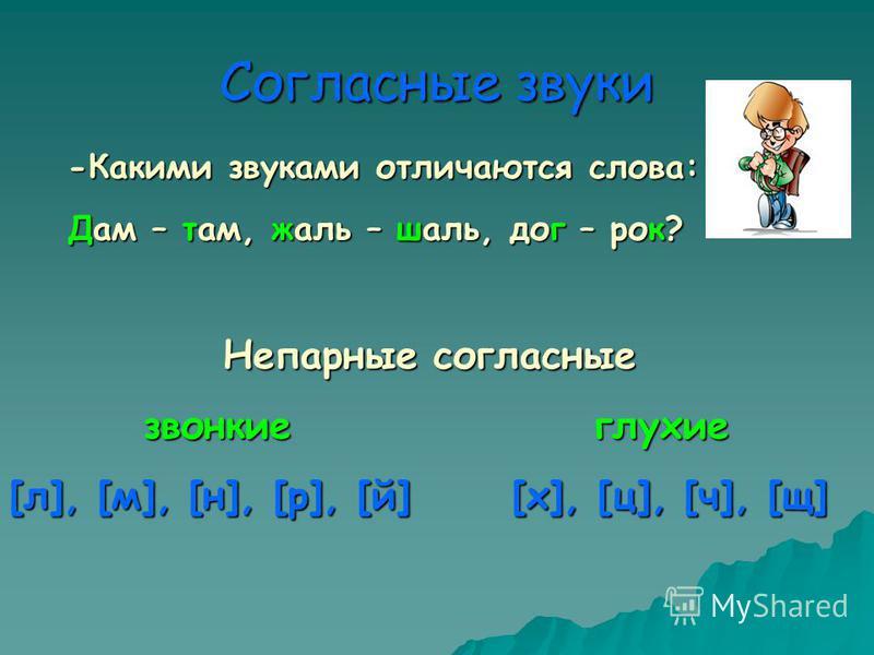 Согласные звуки -Какими звуками отличаются слова: Дам – там, жаль – шаль, дог – рок? Непарные согласные Непарные согласные звонкие глухие звонкие глухие [л], [м], [н], [р], [й] [х], [ц], [ч], [щ]