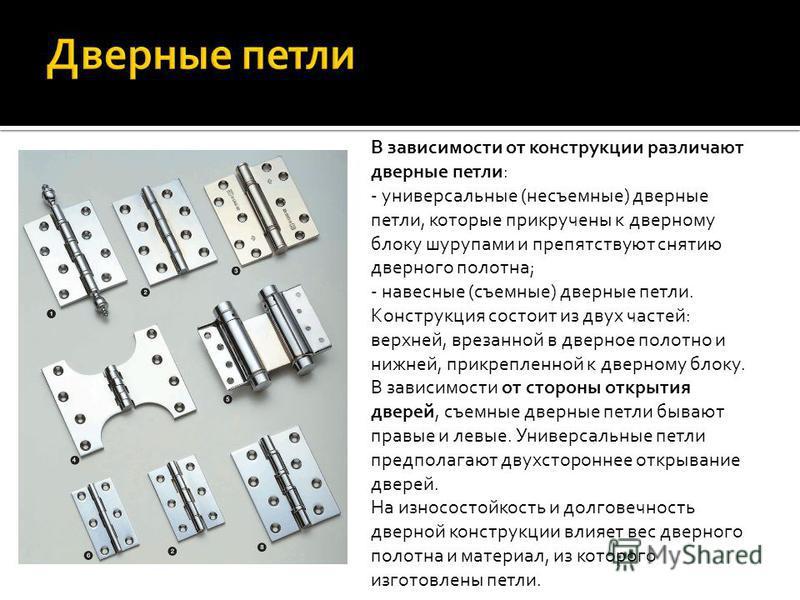 В зависимости от конструкции различают дверные петли: - универсальные (несъемные) дверные петли, которые прикручены к дверному блоку шурупами и препятствуют снятию дверного полотна; - навесные (съемные) дверные петли. Конструкция состоит из двух част